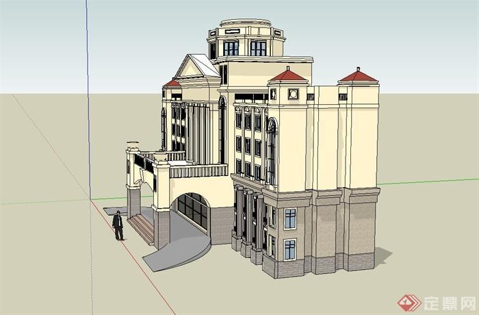 欧式学校教学楼建筑设计su模型[原创]