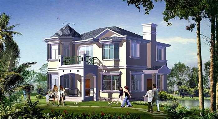 两层欧式风格别墅建筑设计cad图+jpg效果图[原创]