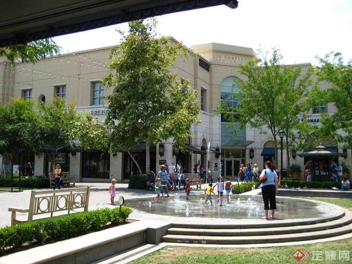 欧式商业街,商业广场景观实景图-旱喷泉台阶座椅-设计