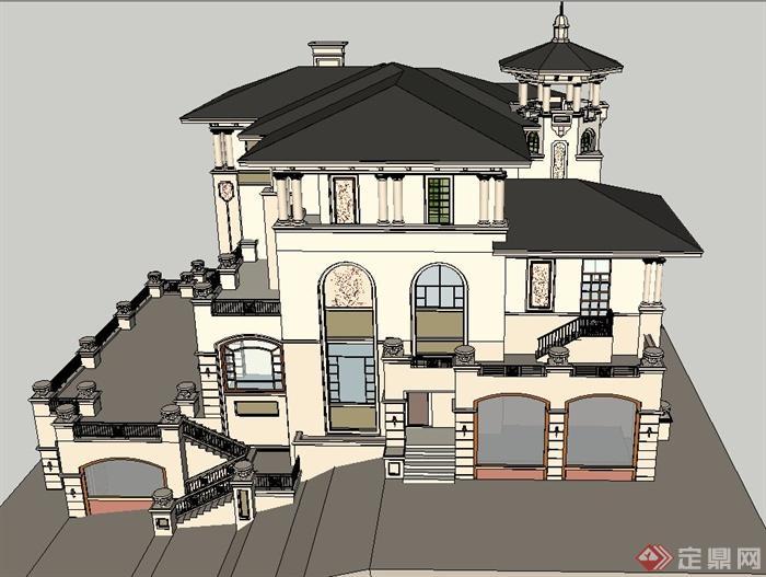 某欧式两层精致别墅建筑设计su模型+cad方案图[原创]