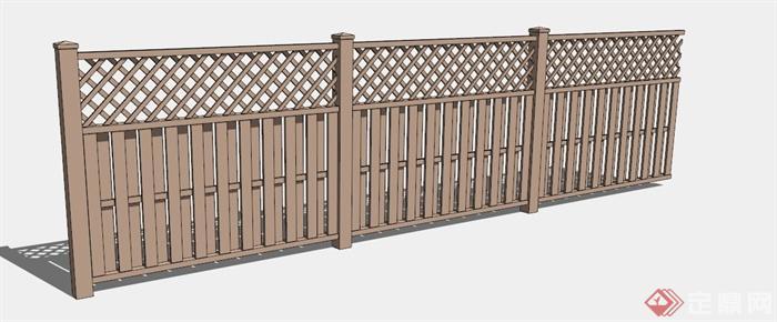 中式木制编织栏杆su模型[原创]