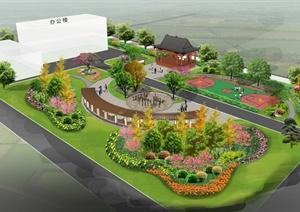 中式景观规划设计psd效果图,模型有亭子,弧形廊架,园路,草坪,景观树等图片