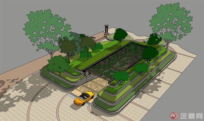 小区地下车库入口设计su模型