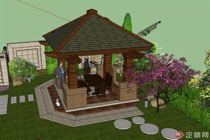 现代某住宅私家庭院景观设计su模型(4)