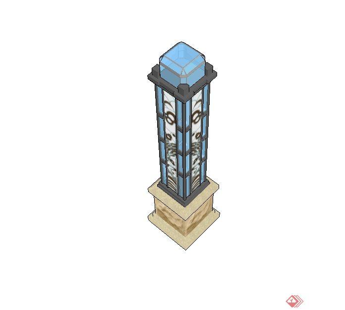 新中式庭院景观灯设计su模型