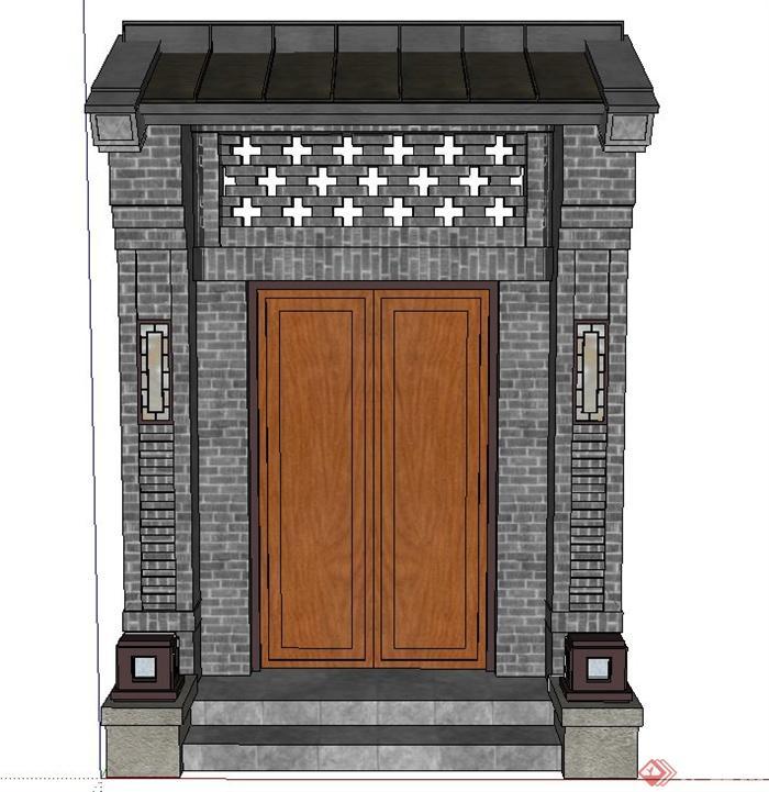 古典中式青砖建筑门设计su模型(1)