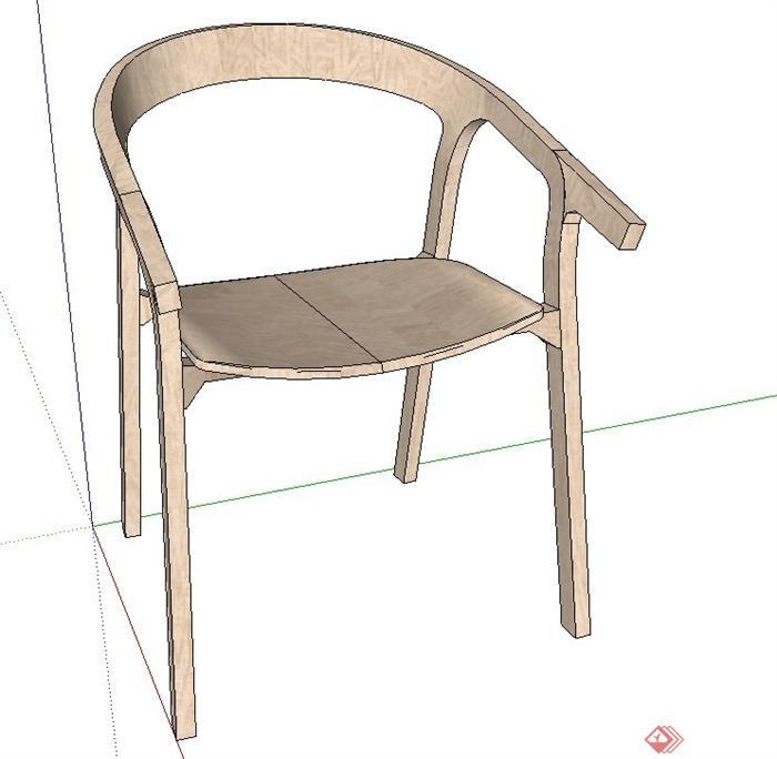 室内木质创意座椅设计su模型[原创]