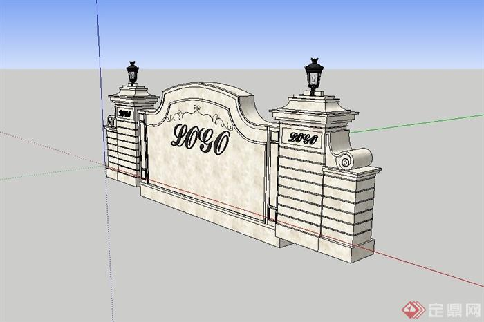 欧式logo标志景墙设计su模型