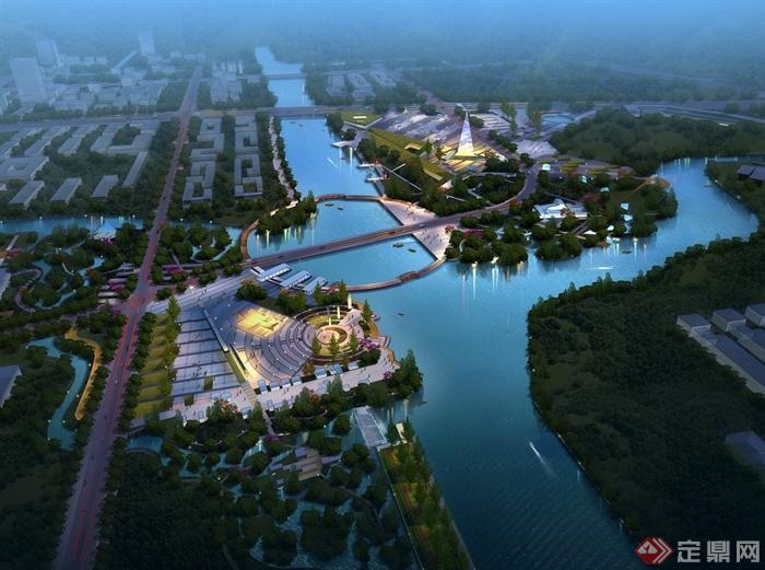 精品滨湖广场景观设计鸟瞰图psd源文件(2)