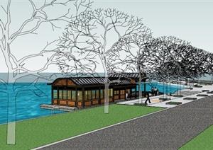 乡镇旅游区游船码头SU(草图大师)模型