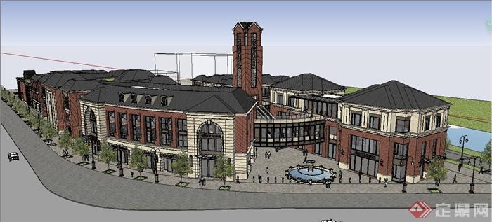 欧式多层市民生活广场建筑设计su模型[原创]图片
