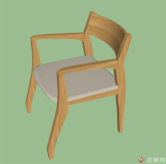 现代木质室内简易座椅设计su模型[原创]