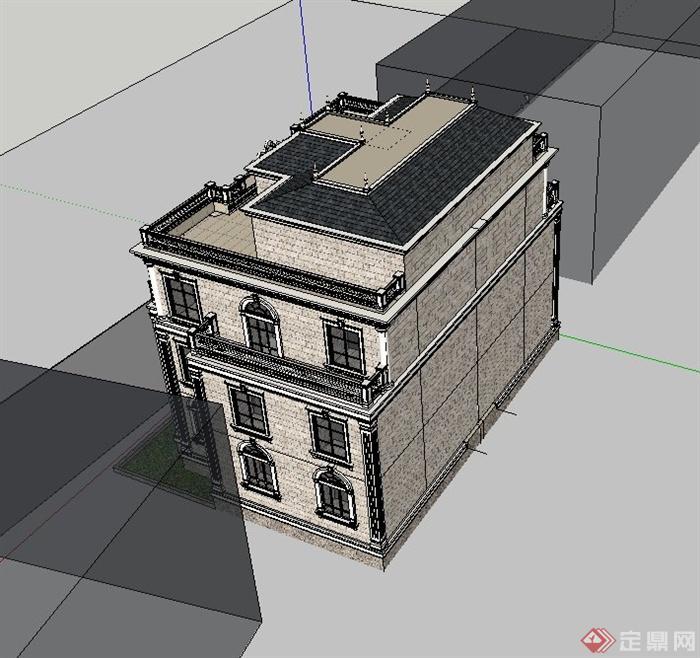 欧式三层精致别墅建筑设计su模型[原创]