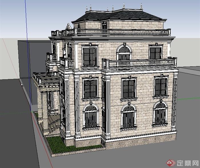 欧式三层精致别墅建筑设计su模型(3)