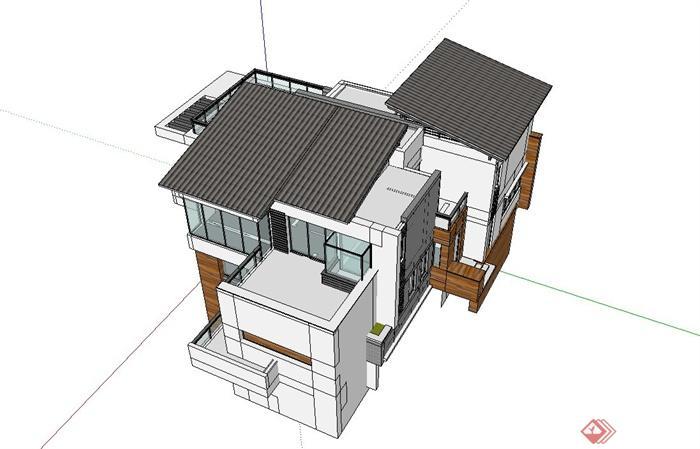 新中式别墅住宅设计su模型