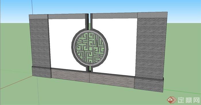 中式景墙,窗花设计su模型(1)