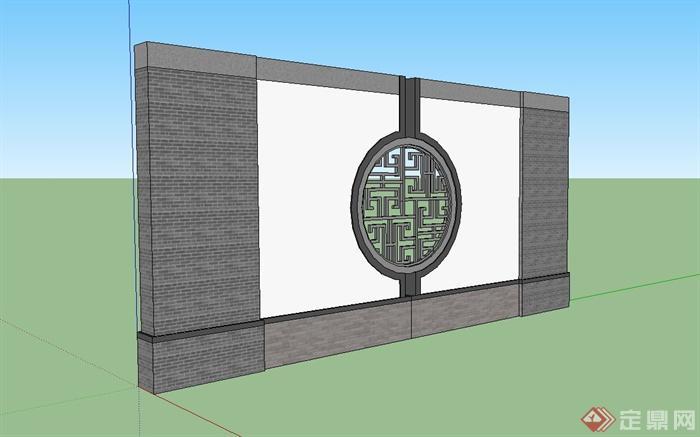 中式景墙,窗花设计su模型(3)