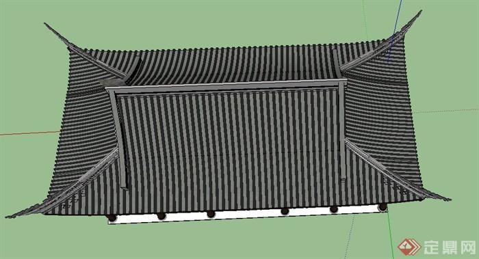 古典中式翘檐门廊门楼设计su模型(4)图片