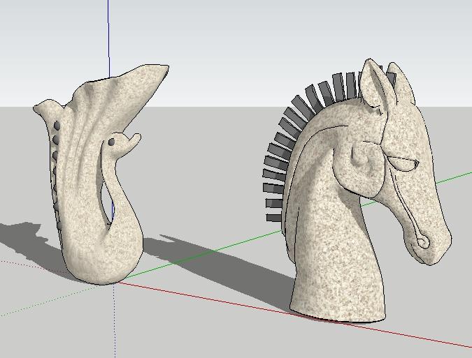6款动物喷水雕塑集su精品模型2