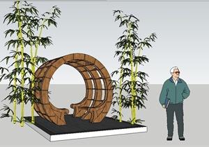 新中式圆形木廊架SU(草图大师)精致设计模型