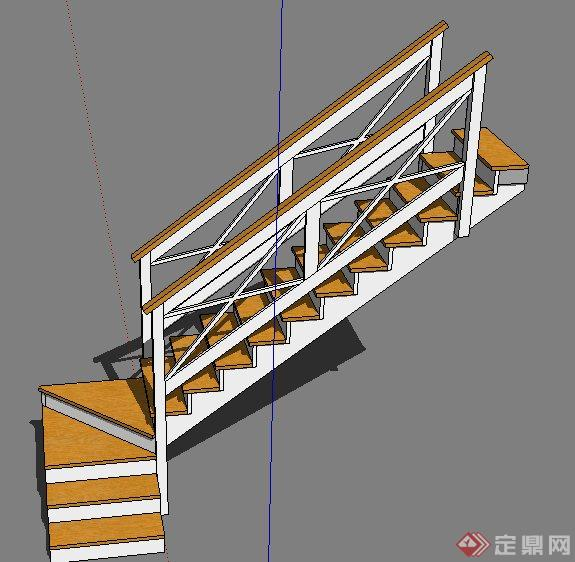 室内木质转角楼梯踏步设计su模型