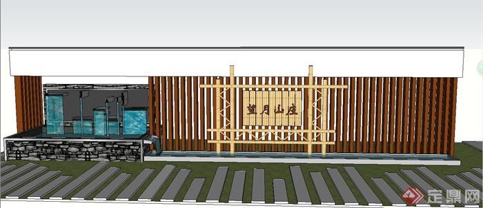 园林景观中式木条景墙设计su模型(1)
