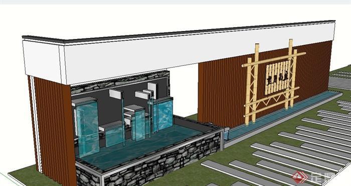 园林景观中式木条景墙设计su模型(3)