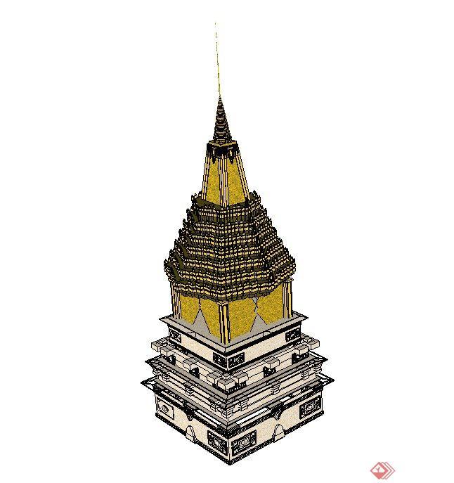 泰国尖塔设计su模型