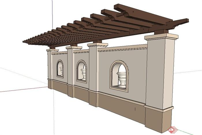欧式景墙廊架设计su模型