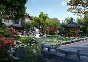 庭院水景园林效果图PSD文件