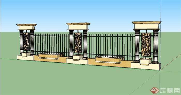 欧式铁艺围栏围墙su模型设计