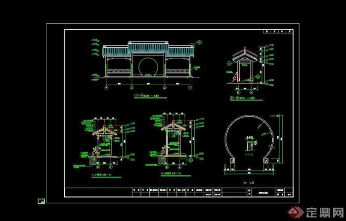 公交车站中式候车廊设计cad施工图[原创]