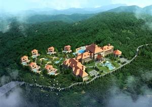 东南亚度假村鸟瞰效果图psd格式源文件