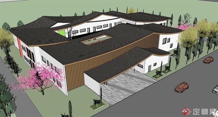 新中式幼儿园(坡屋顶)建筑设计su精致设计模型[原创]