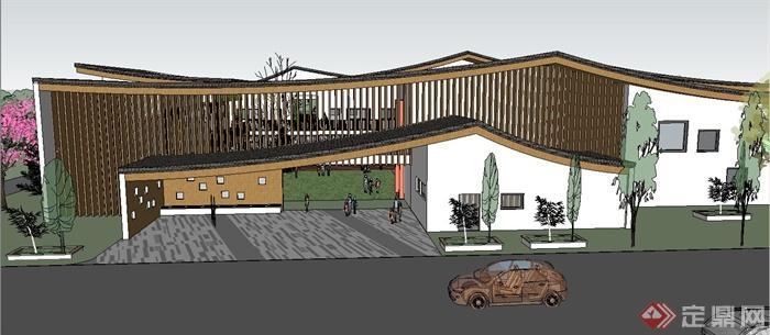 新中式幼儿园(坡屋顶)建筑设计su精致设计模型(2)图片