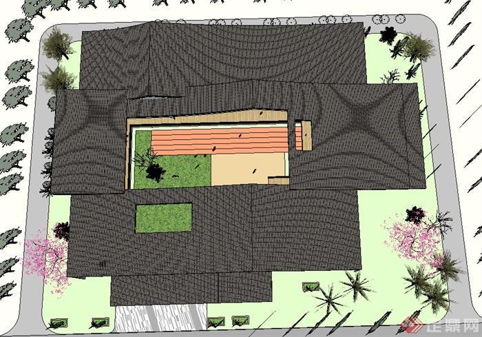 新中式幼儿园(坡屋顶)建筑设计SU精致设计模型(5)