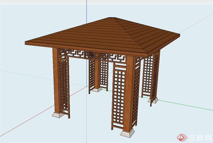 现代中式木凉亭设计su模型