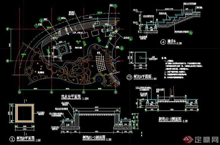 林景观人工广场水池设计CAD施工图