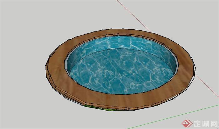圆形游泳池设计su模型
