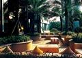 户外休息区,户外沙发,茶几,木平台,花坛,树池