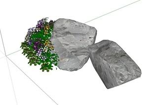 景石花卉组合设计SU(草图大师)模型