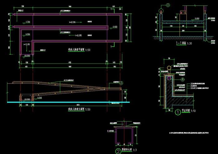 残疾人坡道设计CAD详图高清图片
