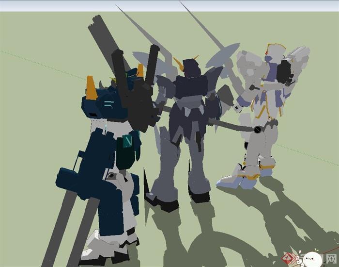 室外廣場三個機器人素材設計su模型[原創]