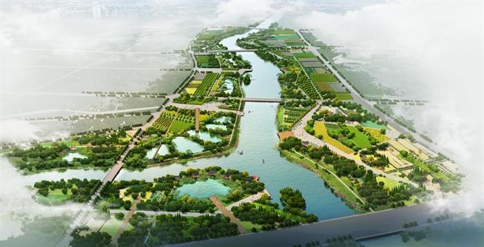 河道湿地公园鸟瞰效果图psd格式源文件