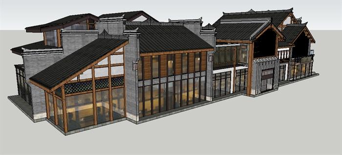 新中式博物展馆su精致建筑设计模型图片
