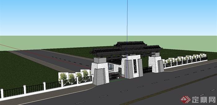 沿街学校中式大门设计su模型(2)