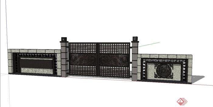 现代中式景墙,大门设计su模型(1)