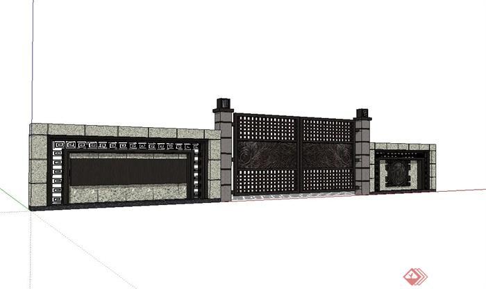 现代中式景墙,大门设计su模型(2)