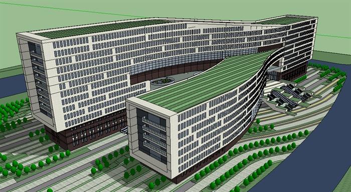 政府行政綜合辦公樓su精致設計模型(1)