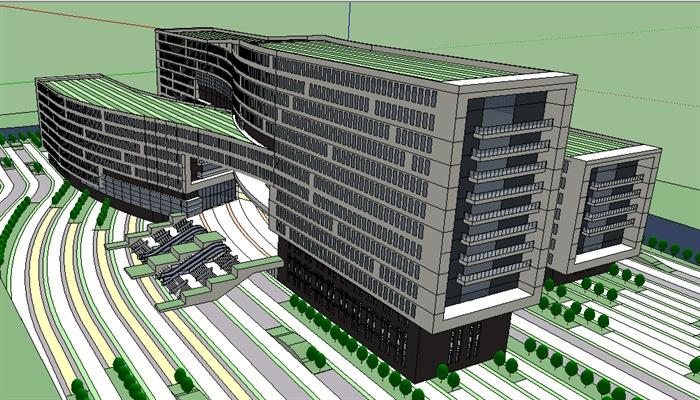 政府行政綜合辦公樓su精致設計模型(3)